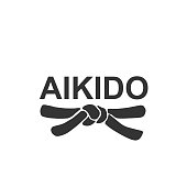 Aikido - vector stylized font with black belt of japanese martial arts on white background.
