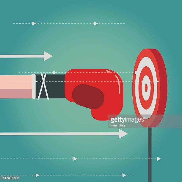 aiming - boxing glove stock illustrations