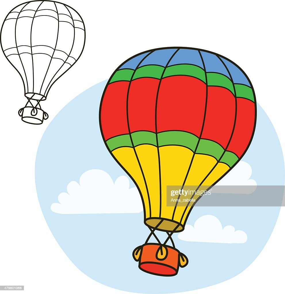 Air balloon. Coloring book page. Cartoon vector illustration