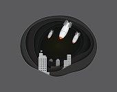 Air bomb attack the city  vector paper art cute illustration paper cut