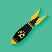 Air bomb icon, missile with radiation sign. Nuclear weapon symbol
