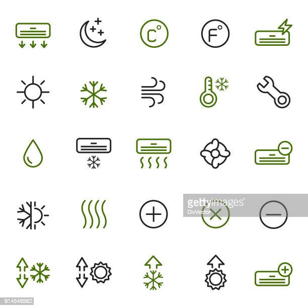 air condition icon set - humidity stock illustrations, clip art, cartoons, & icons