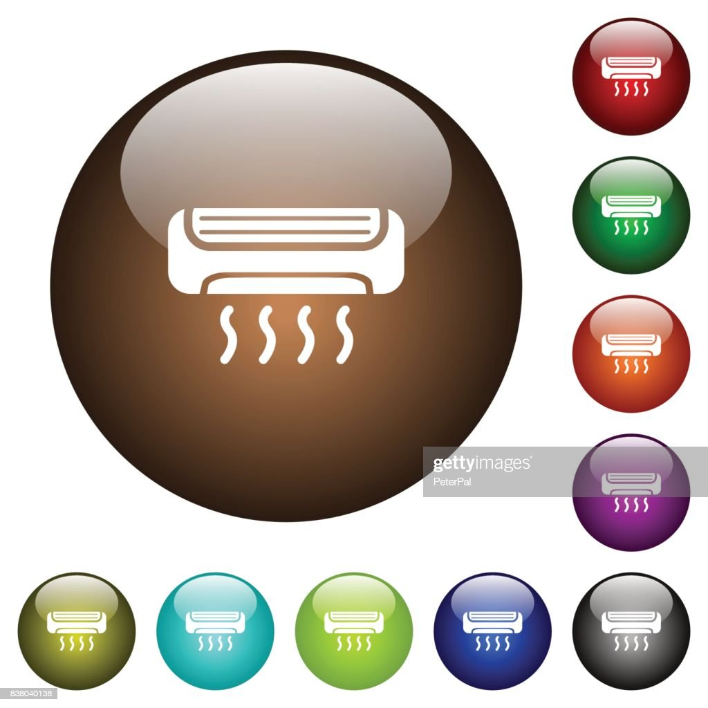 Air conditioner color glass buttons