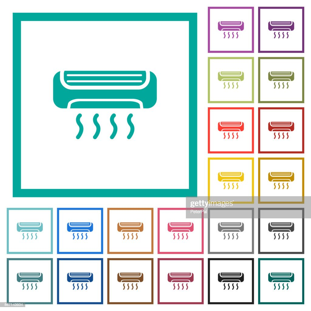 Air conditioner flat color icons with quadrant frames