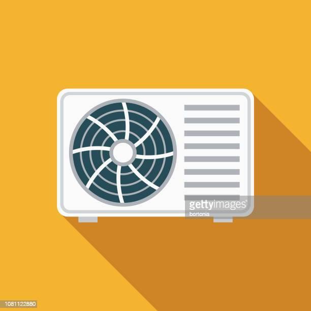 bildbanksillustrationer, clip art samt tecknat material och ikoner med luftkonditioneringen platt design apparaten ikonen - värmebölja