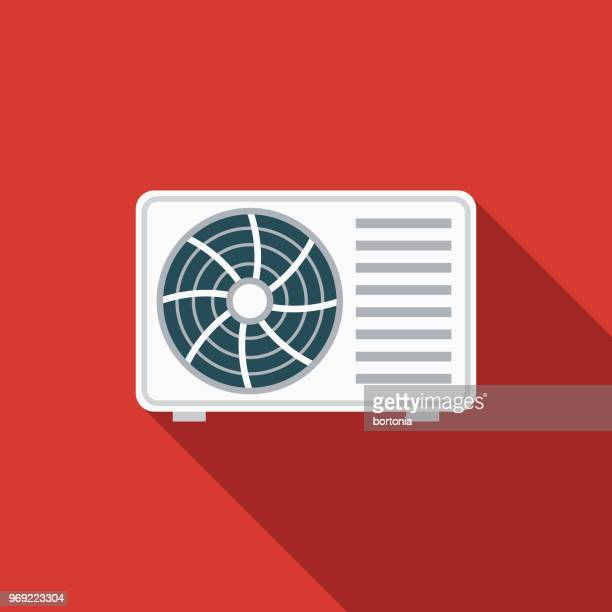 air conditioner flat design summer icon with side shadow - ventilator stock illustrations