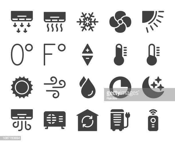 air conditioner - icons - fahrenheit stock illustrations