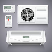 Air conditioner isolated realistic vector illustration