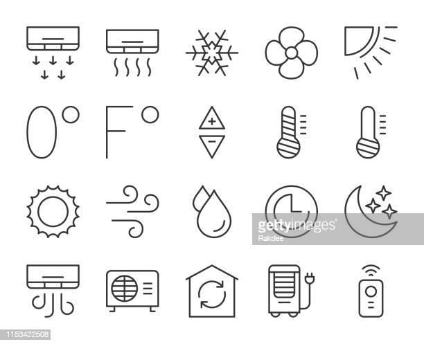 klimaanlage-light line icons - nass stock-grafiken, -clipart, -cartoons und -symbole