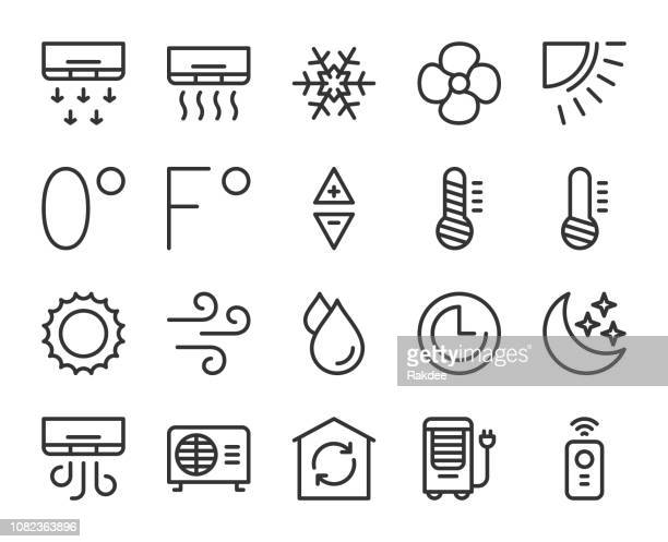 air conditioner - line icons - temperature stock illustrations