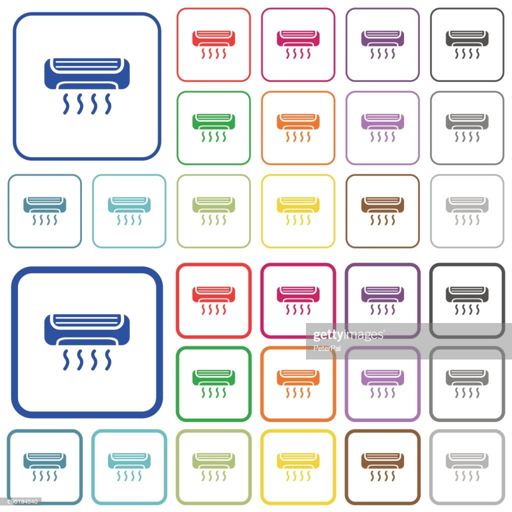 Air conditioner outlined flat color icons