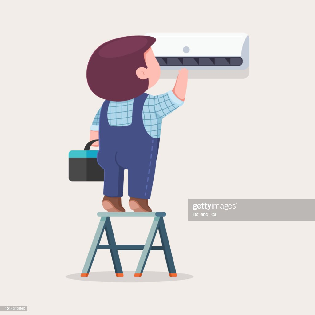 Air conditioner repair and installation. Vector cartoon flat illustration of cute man on a ladder maintenance and service a climatic technique.