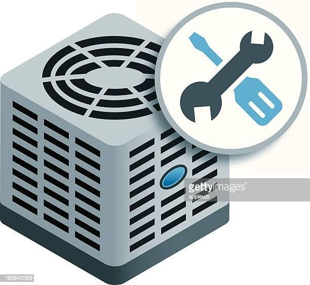 ilustraciones, imágenes clip art, dibujos animados e iconos de stock de aire acondicionado reparación - aparato de aire acondicionado