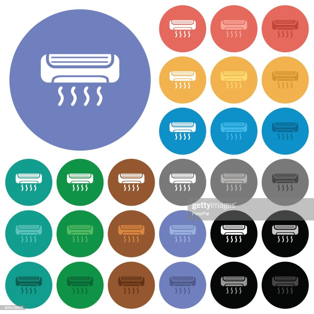 Air conditioner round flat multi colored icons