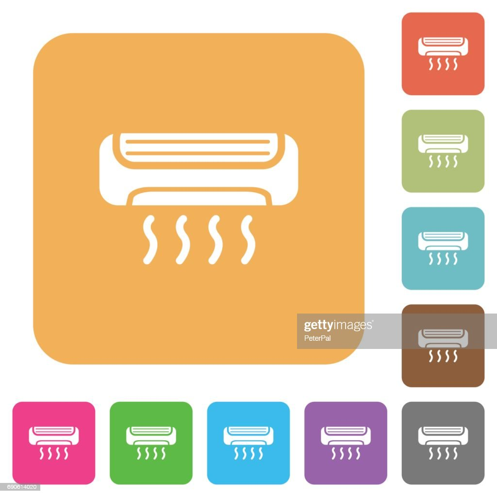 Air conditioner rounded square flat icons