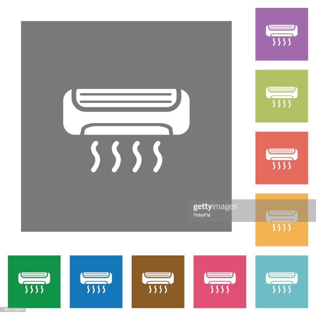 Air conditioner square flat icons