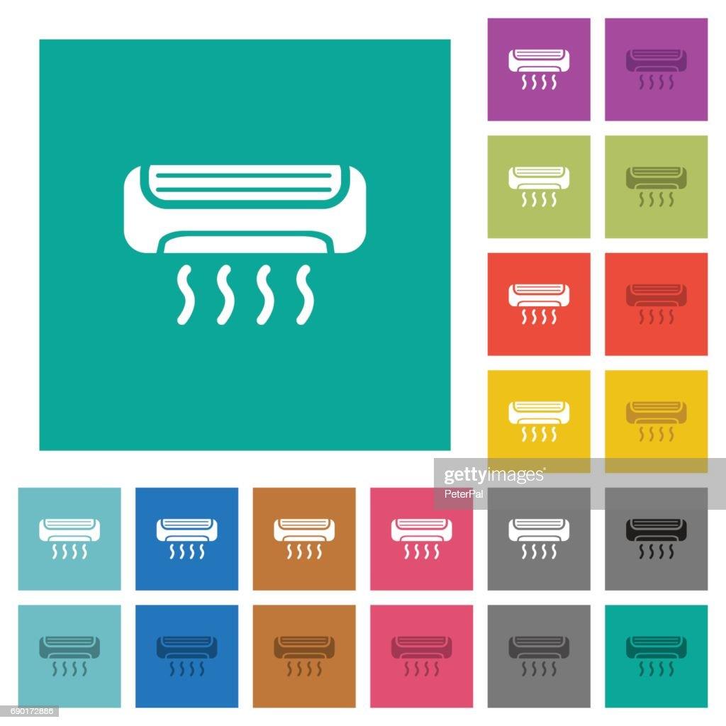 Air conditioner square flat multi colored icons