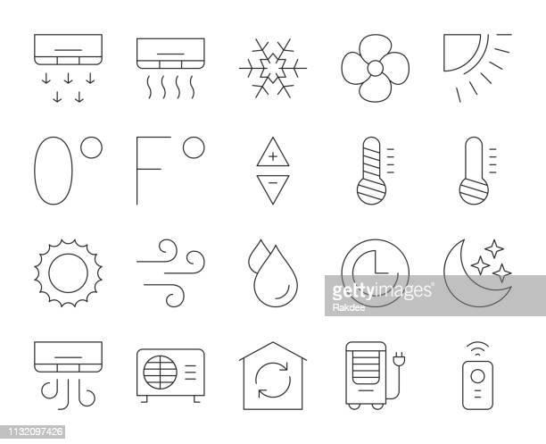 air conditioner - thin line icons - fahrenheit stock illustrations