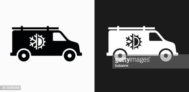 Air Conditioner Truck Icon on Black and White Vector Backgrounds