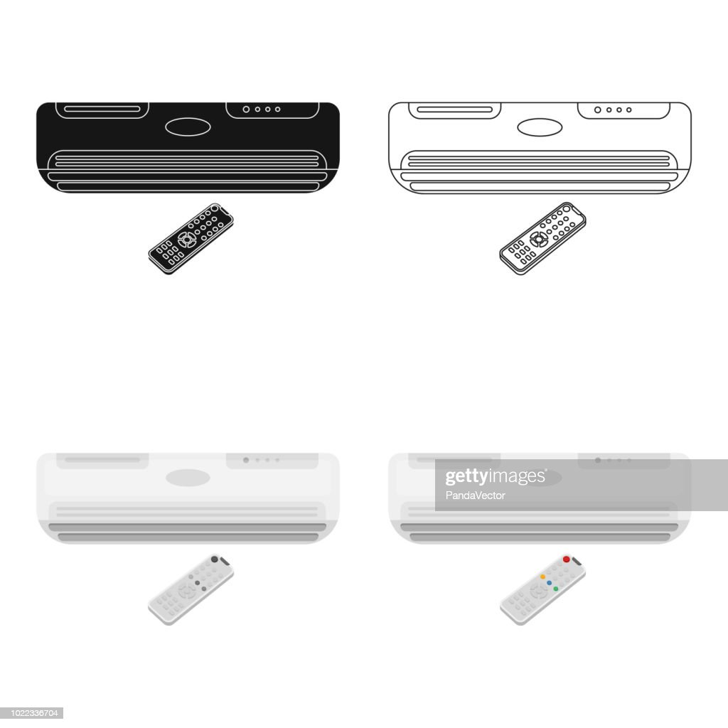Air conditioner with remote control icon in cartoon style isolated on white background. Office furniture and interior symbol stock vector illustration web
