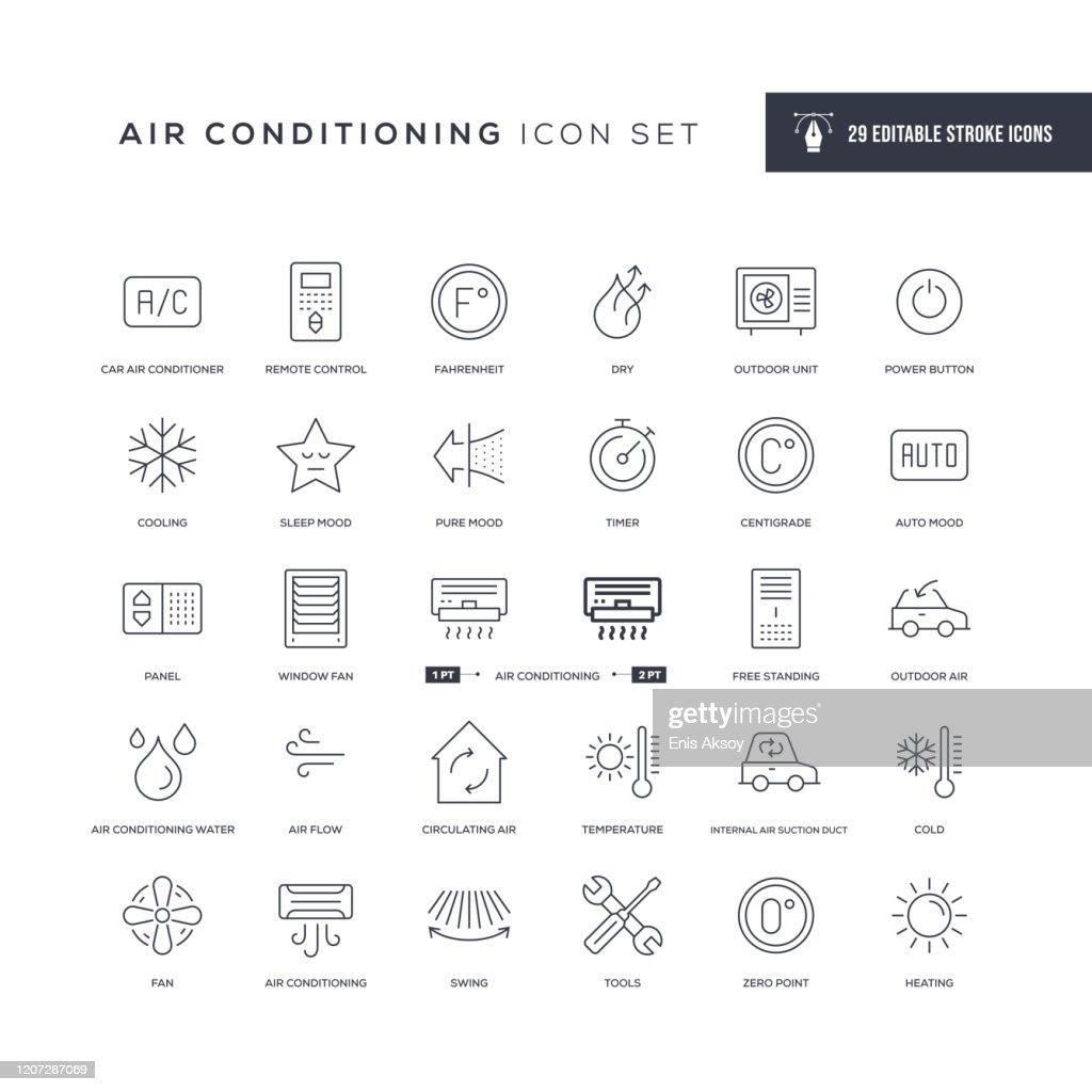 空調編集可能ストロークラインアイコン : ストックイラストレーション