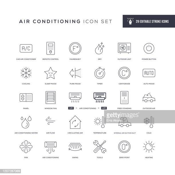 air conditioning editable stroke line icons - heat stock illustrations