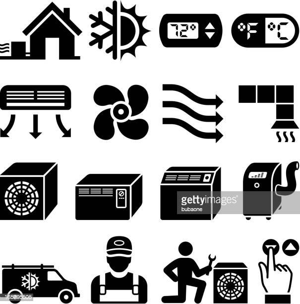 air conditioning heating and cooling black & white icon set - electric fan stock illustrations