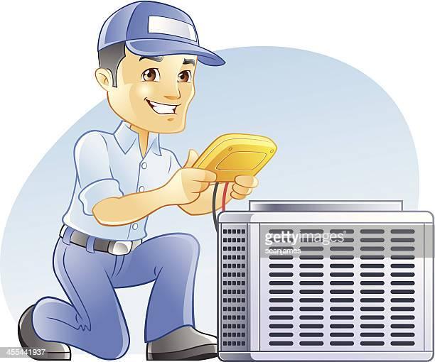 空調&暖房、冷暖房空調設備、診断および修理工 - 医療診断機器点のイラスト素材/クリップアート素材/マンガ素材/アイコン素材