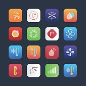 Air conditioning icon set for mobile applications