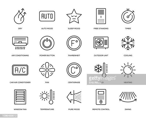 air conditioning icon set - temperature stock illustrations