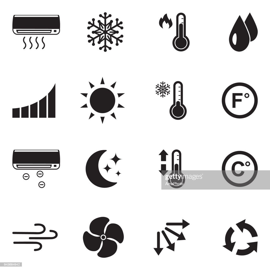 Air Conditioning Icons. Black Flat Design. Vector Illustration.