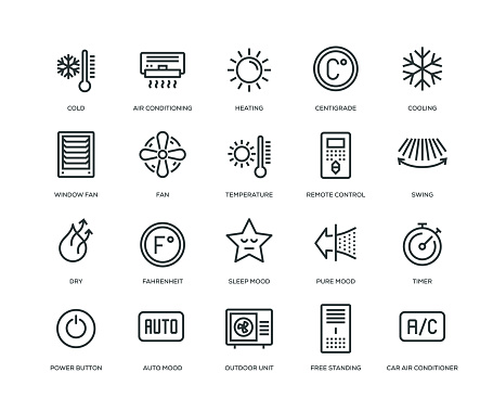 Air Conditioning Icons - Line Series - gettyimageskorea