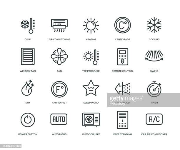 air conditioning icons - line serie - glühend stock-grafiken, -clipart, -cartoons und -symbole