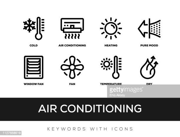 air conditioning keywords with icons - electric fan stock illustrations
