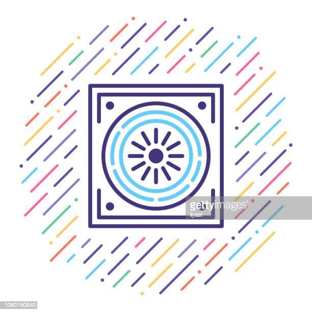 air conditioning line icon illustration - medical ventilator stock illustrations, clip art, cartoons, & icons