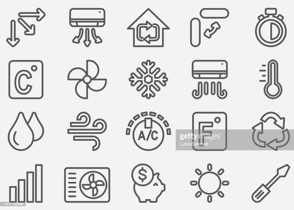 Air Conditioning Line Icons : Stock Illustration