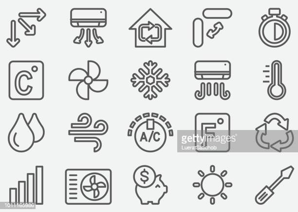air conditioning line icons - temperature stock illustrations