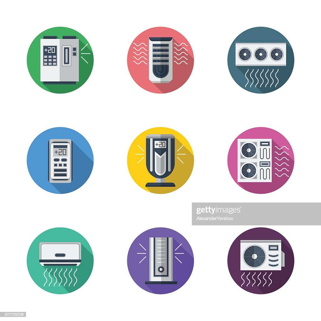Air conditioning system round flat vector icons