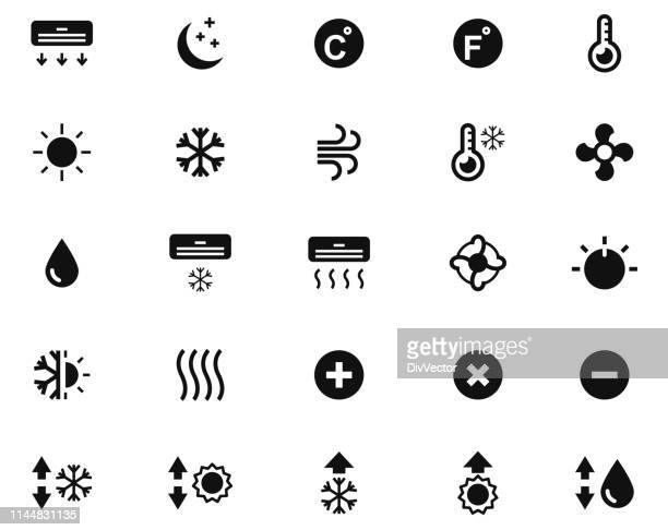 air conditioning vector icon set - humidity stock illustrations, clip art, cartoons, & icons