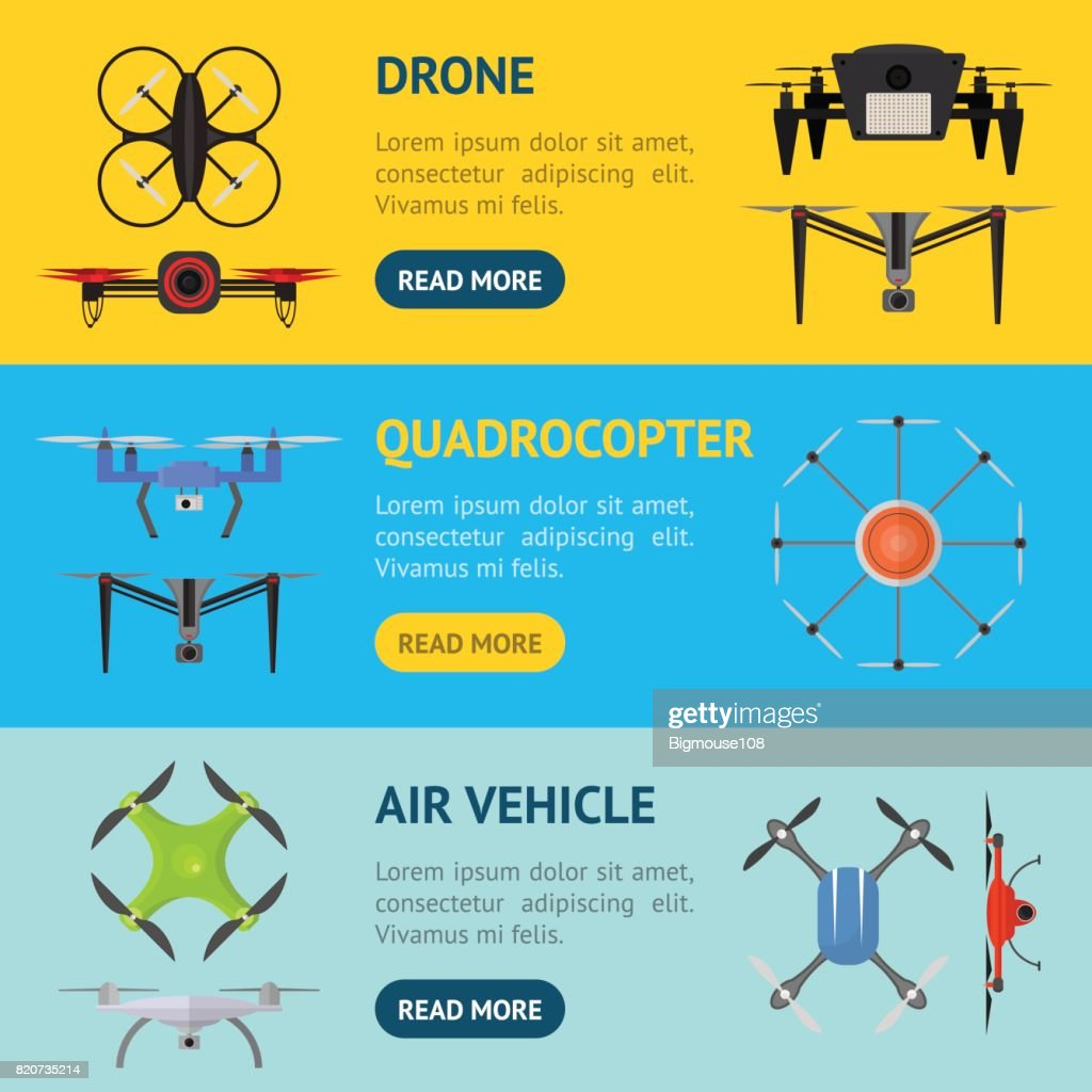 Air Drone Color Drone Banner Horizontal Set. Vector