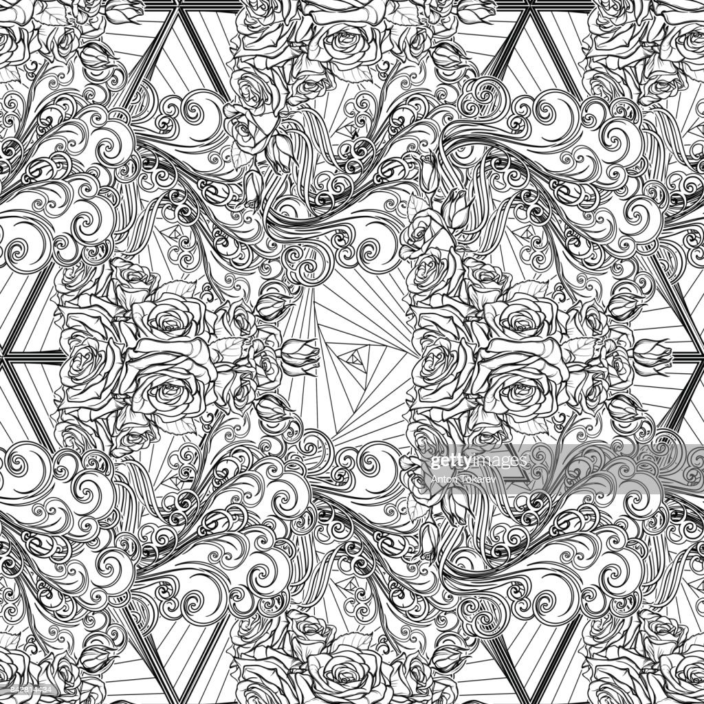 Air element black and white seamless pattern