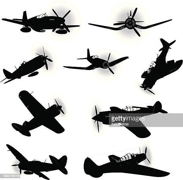 us air force fighter planes - world war two - world war ii stock illustrations