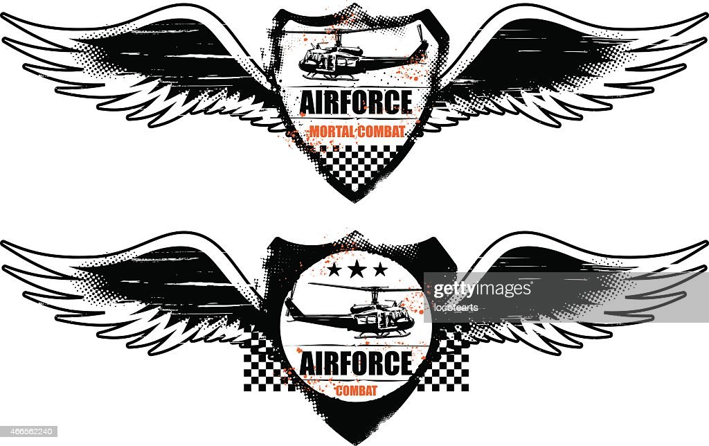 air force grunge shield with wings and helicopter