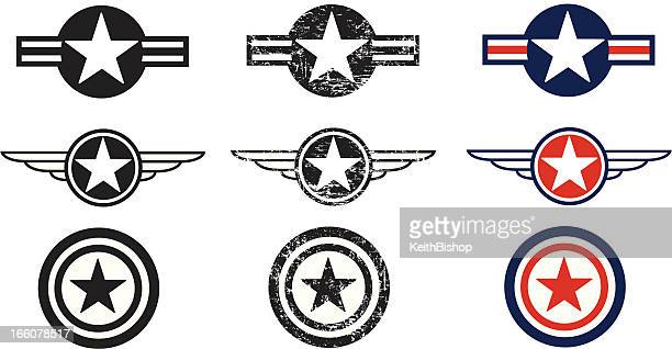 us air force insignias - armed forces - us military emblems stock illustrations