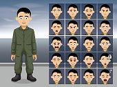 Air Force Pilot Cartoon Emotion faces Vector Illustration