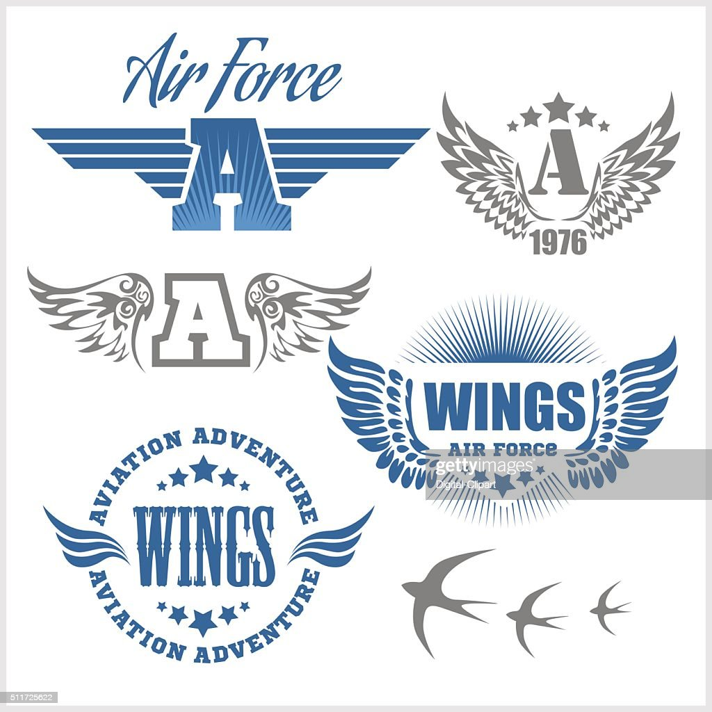 Air Force shields and labels with wings
