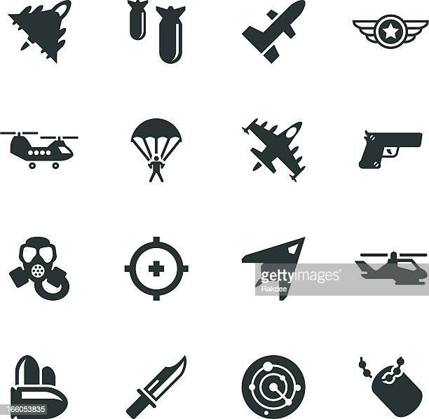 air force silhouette icons - special forces stock illustrations, clip art, cartoons, & icons