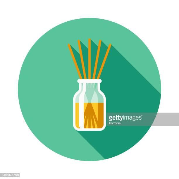 ilustraciones, imágenes clip art, dibujos animados e iconos de stock de icono de limpieza de aire ambientador diseño plano con sombra lateral - olores agradables