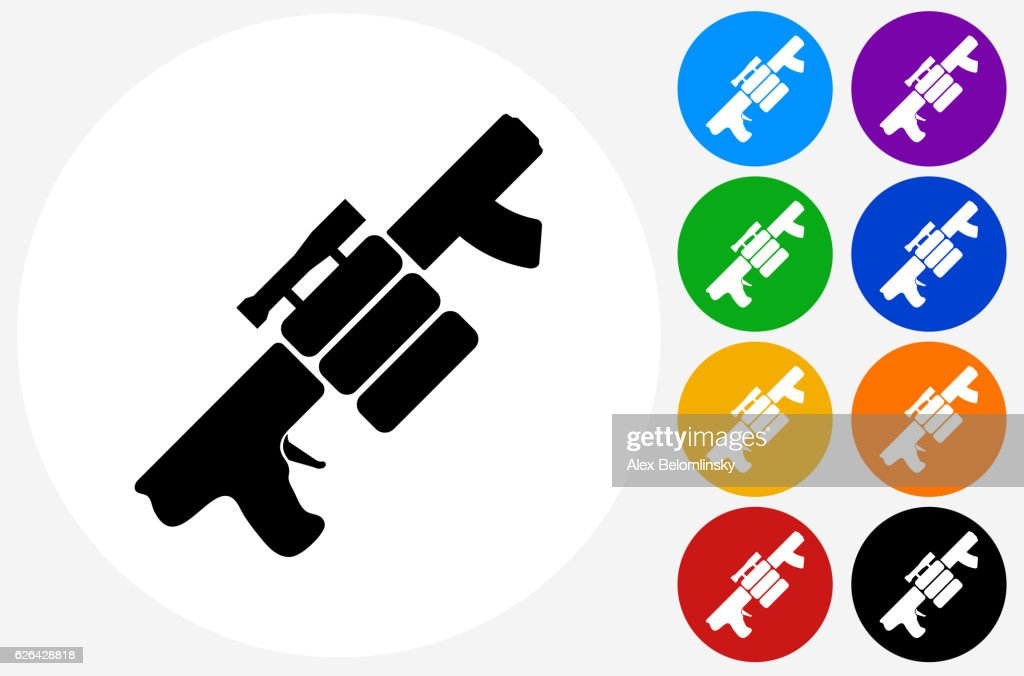 Air Gun Spare Bullets Icon On Flat Color Circle Buttons