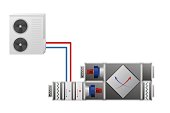 Air handler with heating, cooling unit, recuperator and conditioner.